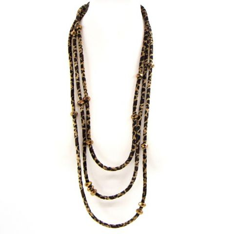 TRIPLE STRAND LEOPARD VELVET LONG NECKLACE